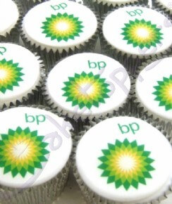 BP corporate logo cupcakes