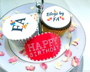 A decorative desplay with Blogs By FA logo Cupcakes