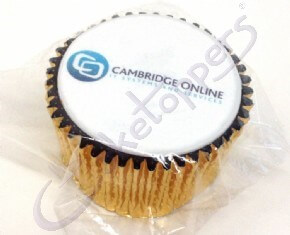 An individually wrapped logo cupcake for Cambridge Online.