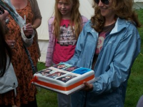 A photo cake with multiple pictures