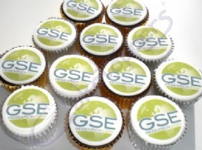 GSE Research's printed logo cupcakes
