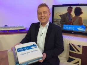 Happy 2nd Birthday to Inside Cruise celebrating on air with a cake