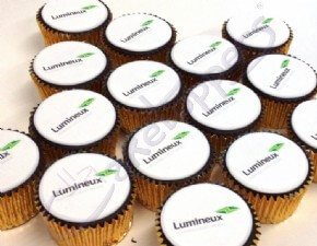 Lumineux logo cupcakes for Logistics Live 2014