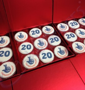 Gift Boxes of Logo Cupcakes to celebrate Camelot's 20th Birthday