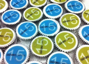 Branded cupcakes for Oxford Capital event