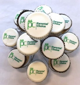 Chocolate and classic sponge logo cupcakes