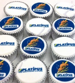 Platipus Tree Anchoring Systems Logo Cupcakes