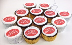 Post office logo cupcakes