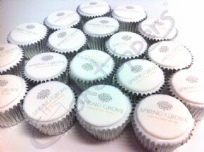 Spring Grove Lymington Spa logo cupcakes