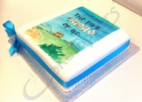 A book launch cake for The Five of Us by Quentin Blake