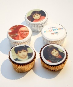 Blogger The Playroom enjoyed cupcakes printed with their children's photos