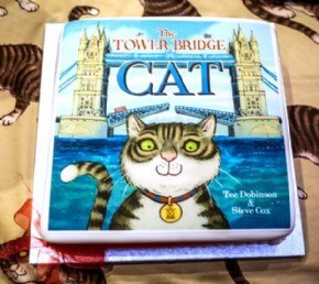 Launch of The Tower Bridge Cat book with a photo cake