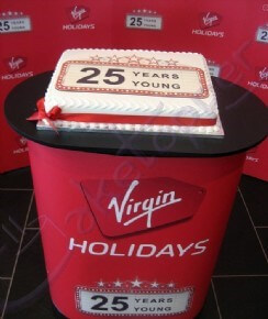 Virgin Holidays celebrated 25 years with a huge logo cake!