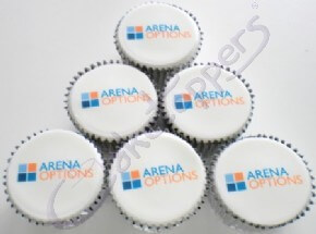 Arena Options' branded logo cupcakes