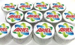 Printed logo cupcakes for Ariel