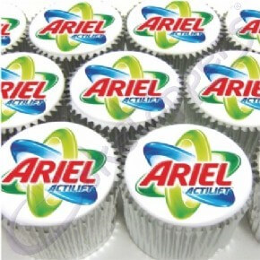 Ariel's branded logo cupcakes