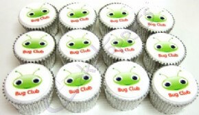 Bug Club's printed logo cupcakes