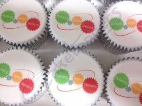 Colourful photo cupcakes with the company's motto