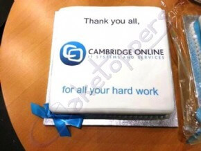 Cambridge Online's logo thank-you cake
