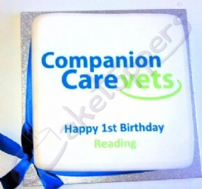 Companion Care Vets' Reading branch 1st birthday logo cake