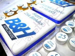B&H's 25th birthday cake with logo cupcakes and number cupcakes