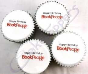 The Book People's company logo cupcakes