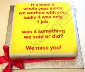 A heartfelt message from an employer... on a cake!