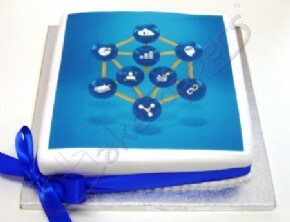 A vibrant corporate photocake