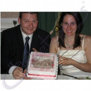 A couple's congratulatory photo cake
