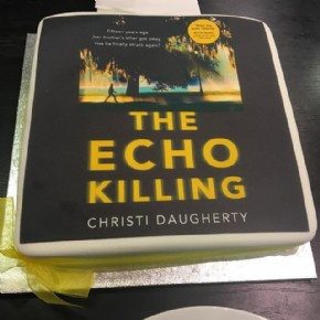 A cake to celebrate the launch of The Echo Killing