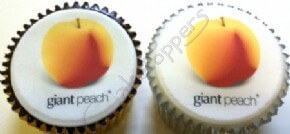 Giant Peach branded logo cupcakes