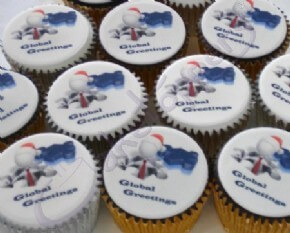 Corporate cupcake logo cakes for Global Greetings