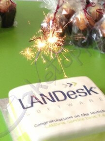 Close-up of LANDesk's software launch cake