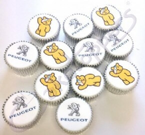 Logo and image cupcakes for Peugeot's collaboration with Children In Need