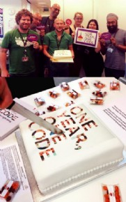 Mitie logo cakes celebrating their code of conduct's first anniversary