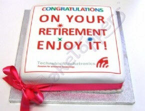 Technobis Mechatronics'  congratulations cake for a retiring member of staff