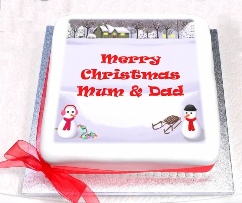 Personalised Christmas Snow Scene Cake