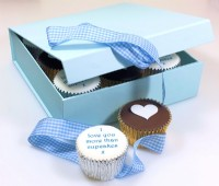 Personalised Valentine Cupcakes Gift Box Blue