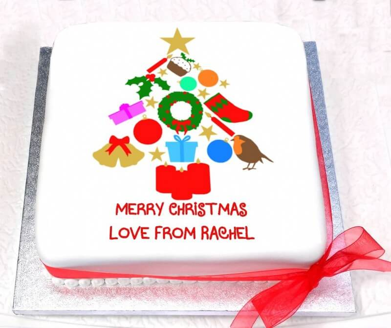 Personalised Christmas Tree Sponge Cake