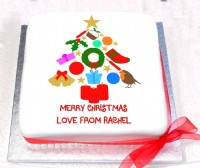 Personalised Christmas Tree Cake