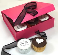 Personalised Valentine Cupcakes Gift Box Cerise