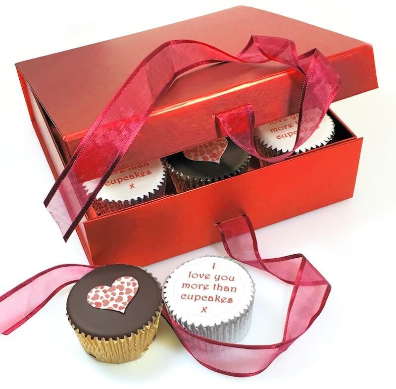 Personalised Valentine Cupcakes Gift Box Red
